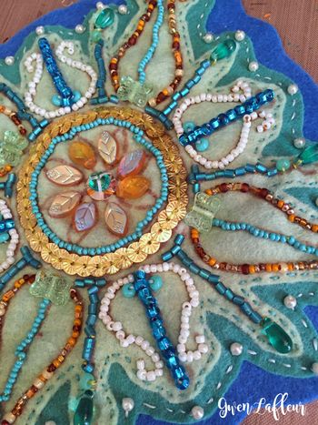 Bead Embroidery with Curvy Medallion Stencil - Gwen Lafleur