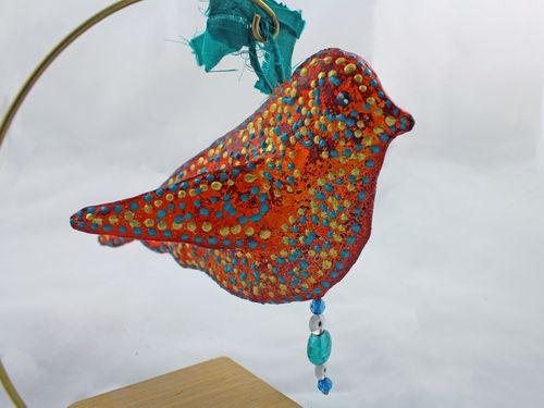 Orange Bird Sculpture from Foam Stamp 3 - Gwen Lafleur