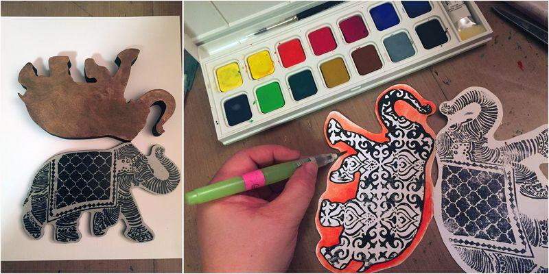 Reversible Elephant Card Steps 1-2 - Gwen Lafleur
