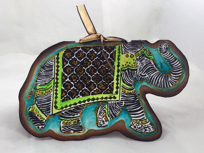 Reversible Stamped Elephant Card Side 1 - Gwen Lafleur