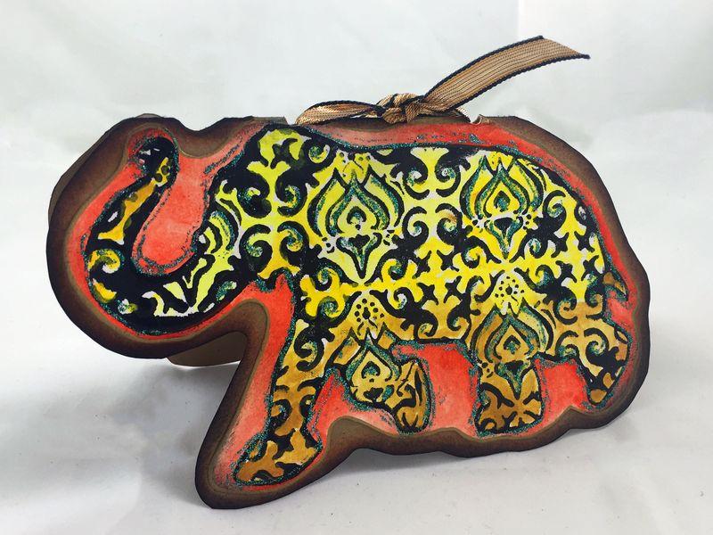 Reversible Stamped Elephant Card Side 2 - Gwen Lafleur
