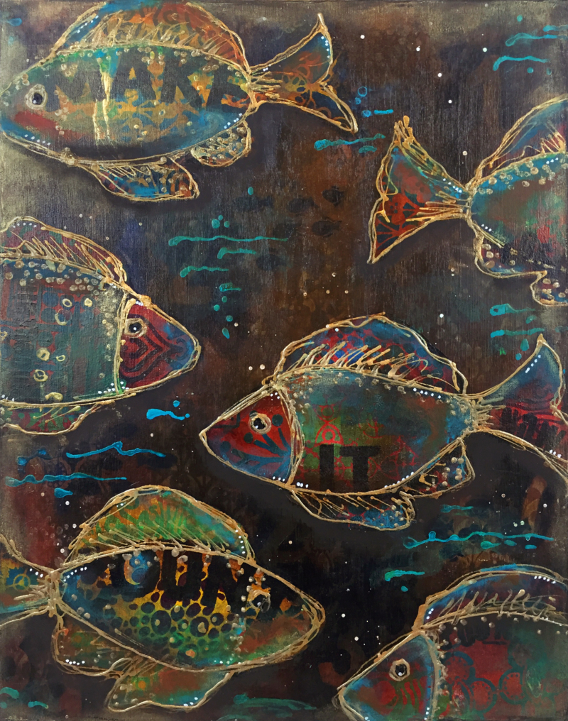 One Fish-Two Fish - Stenciled Mixed Media Panel - Gwen Lafleur