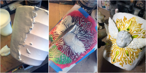 Faux Ceramic Poinsettia Planter with Stencils - Steps 1-3 - Gwen Lafleur