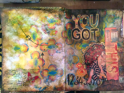 Art Journal Spread with Stencils and Collage - Gwen Lafleur