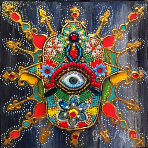Beaded Hamsa Mixed Media Panel - Gwen Lafleur