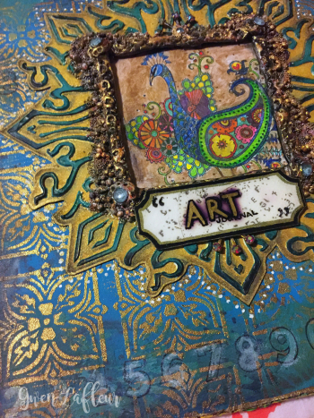 Stamped and Stenciled Art Journal Cover Close-up 3- Gwen Lafleur