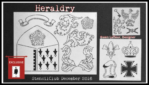 December 2016 StencilClub Collection 2 - Heraldry by Gwen Lafleur