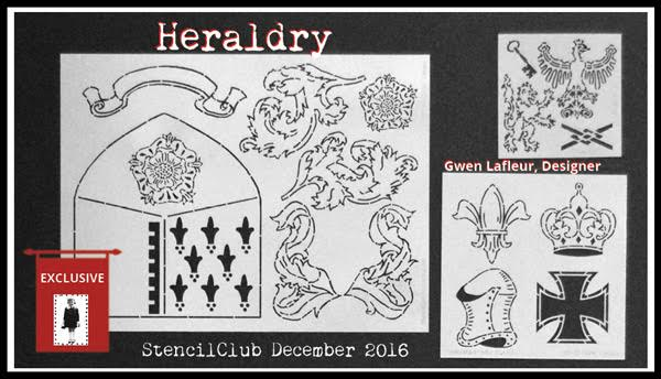December 2016 StencilClub Collection 2 - Heraldry by Gwen Lafleur
