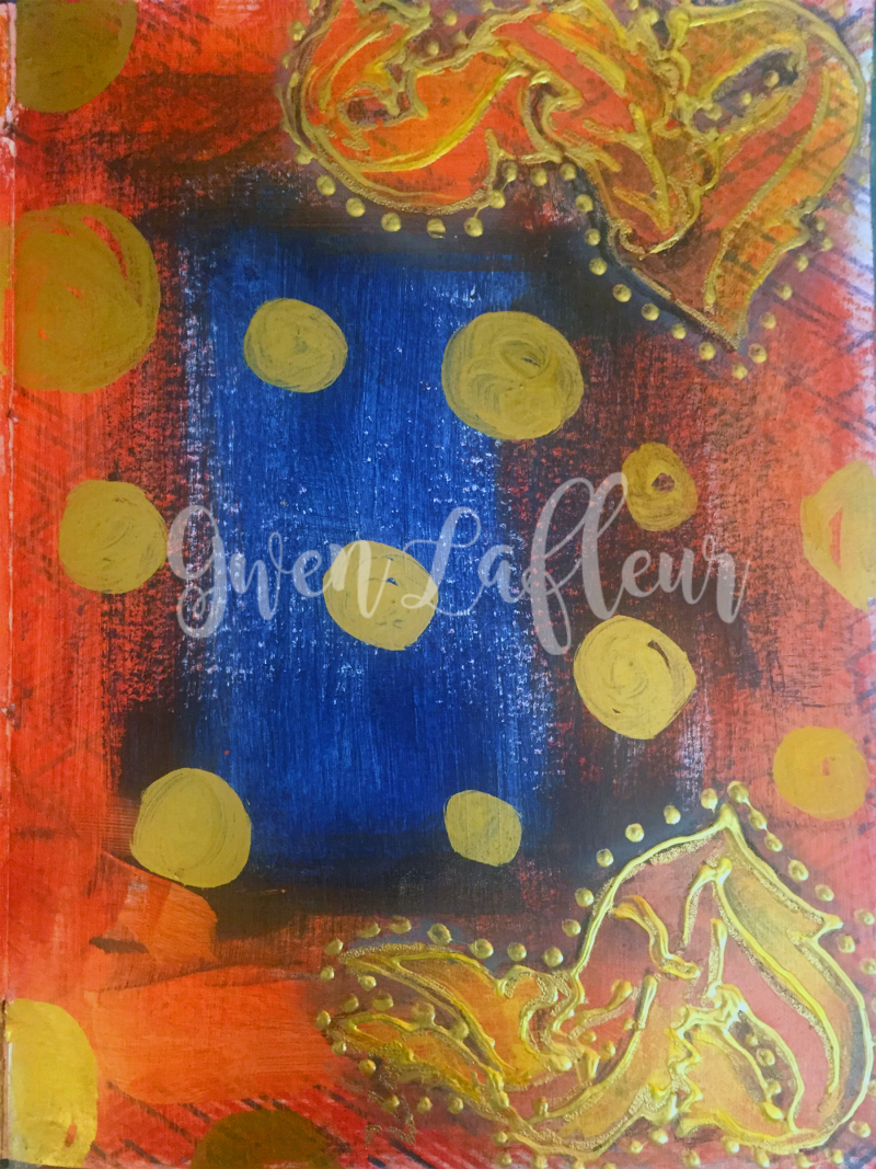 Art Journal Flourish Corners with Heraldry Stencils 2 - Gwen Lafleur - wm