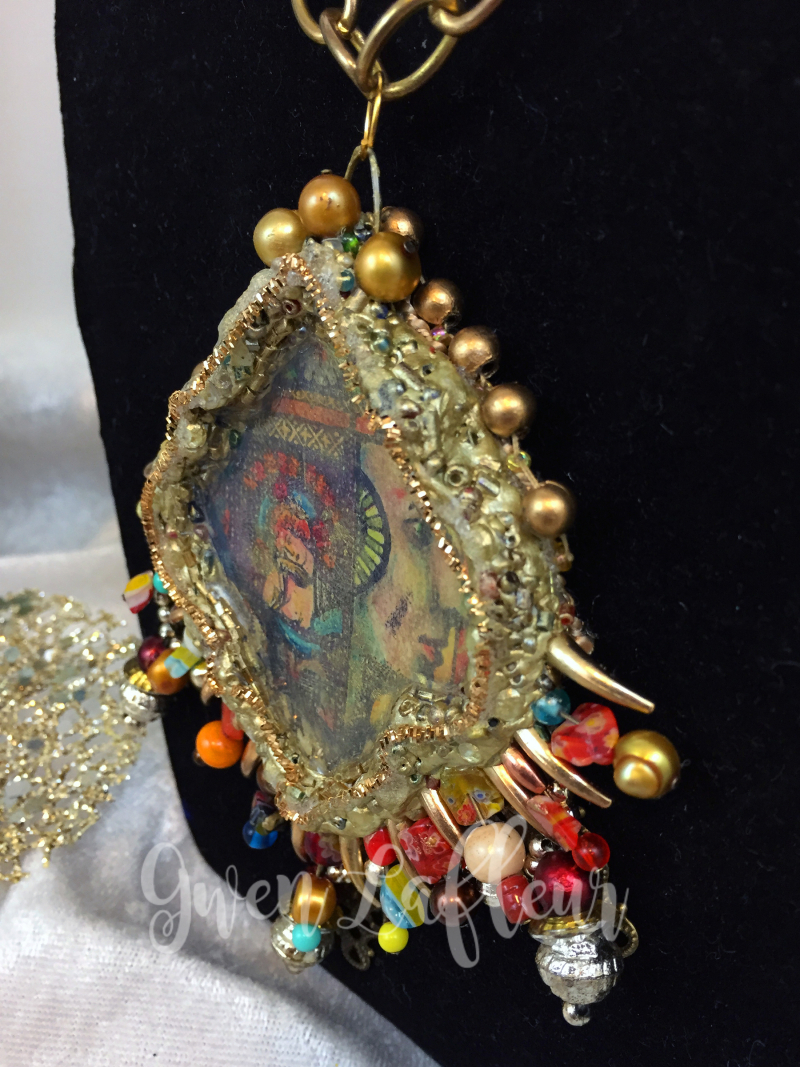 Mixed Media Pendant - Close-up 1 - Gwen Lafleur