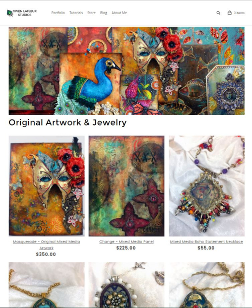 Original Artwork and Jewelry Store Page