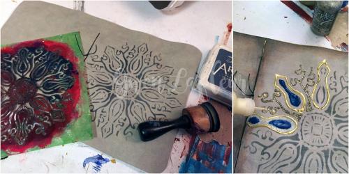 Stenciled Kraft-Tex Notebook Cover Step 8 - Gwen Lafleur
