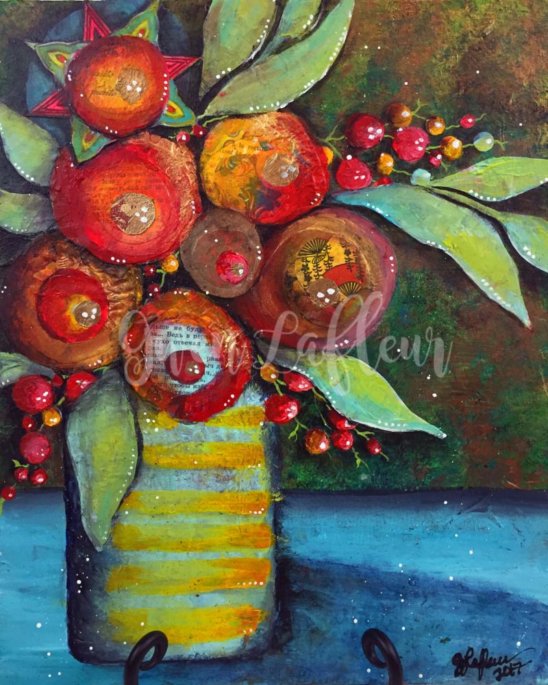 Mixed Media Floral Still-Life - Gwen Lafleur
