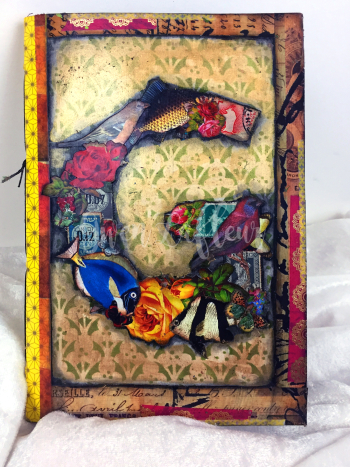 Art Journal Cover - Stamp Stencil Collage 2 - Gwen Lafleur