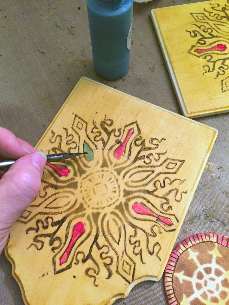 Stenciled - Woodburned Diptych - Step 4 - Gwen Lafleur
