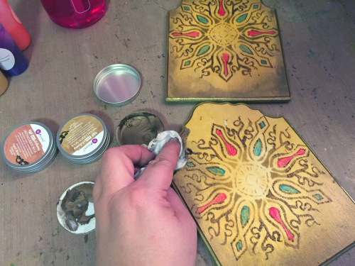 Stenciled - Woodburned Diptych - Step 5 - Gwen Lafleur