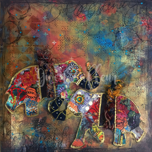Boho Art Journaling - Elephant Spread - Gwen Lafleur