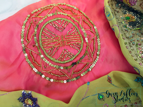 Art Deco Medallion Stencil - Gold Embroidery 2 - Gwen Lafleur