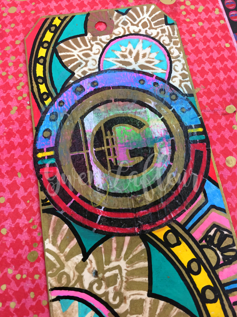 Art Deco Stencils - Monogram Tag Closeup - Gwen Lafleur