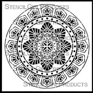 Art Deco Flower Medallion Stencil - Gwen Lafleur