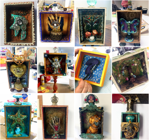 Mixed Media Shadow Boxes - Class Project Collage