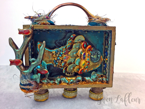 Mixed Media Shadow Box - Ocean Scene - Gwen Lafleur