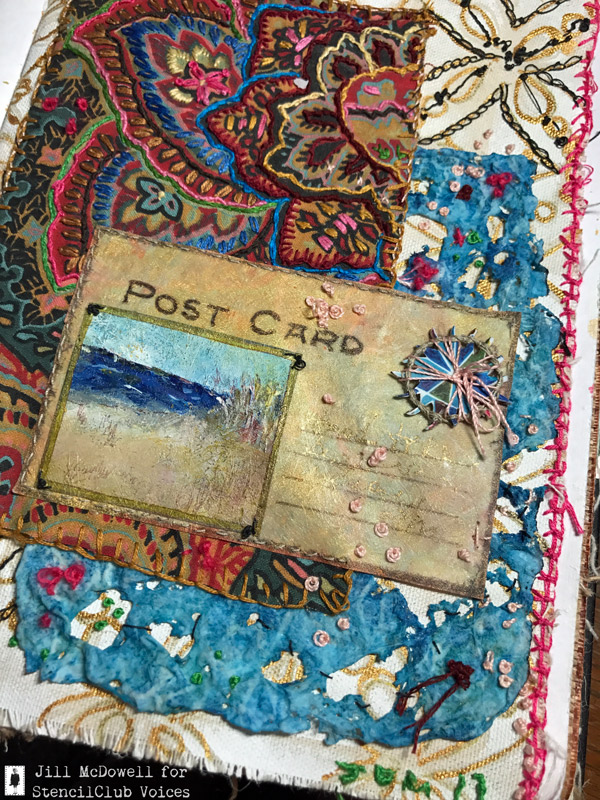 Textile-collage-voices-stencilclub-aug-2017-post-card