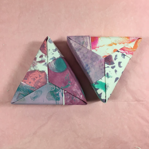 Monoprint Origami Boxes by Lynda Shoup