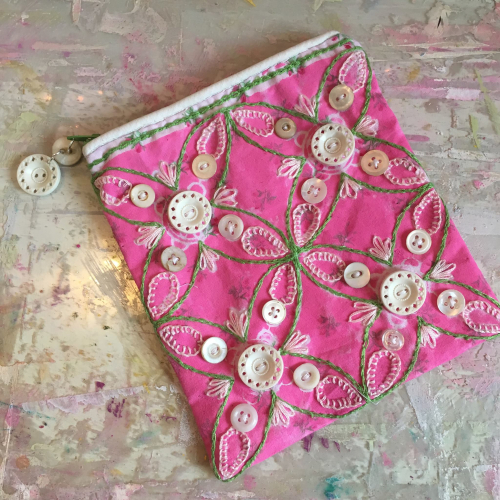 Embroidered Bag with Stencil Pattern - Lynda Shoup