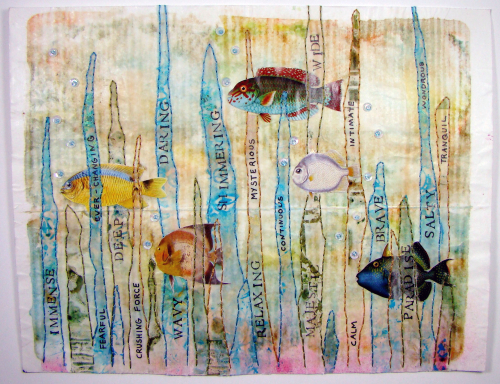 Ocean adjectives Art Journaling by Sandee Setlff