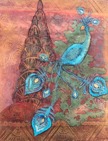 Blog Hop Art Journal Page - Peacock Mania - Jill McDowell