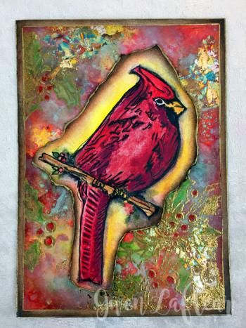 Handmade-Card-with-Cardinal-and-Holly-Stencil---Gwen-Lafleur