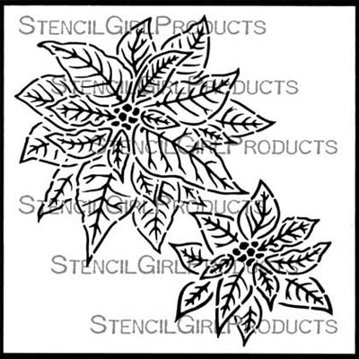 Christmas Poinsettia Stencil - Gwen Lafleur