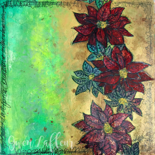 Poinsettia-Stencil-Art-Journaling---Gwen-Lafleur