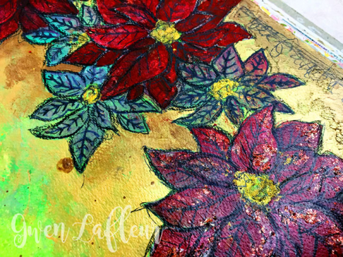 Poinsettia-Stencil-Art-Journaling-Closeup-2---Gwen-Lafleur