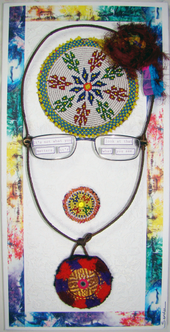 Mixed Media Portrait with Kuchi Patches - Sandee Setliff
