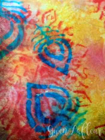 Stenciled-File-Folder-Art-Journal-with-Distress-Oxide-Inks-Spread-2-Closeup---Gwen-Lafleur