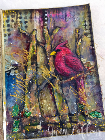 Winter-Cardinal-Art-Journal-Page-angle--Gwen-Lafleur