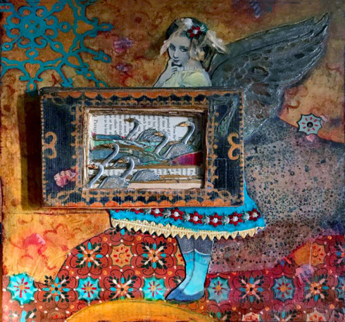 Mixed-Media-Panel-with-Dresden-Swans---Jill-McDowell