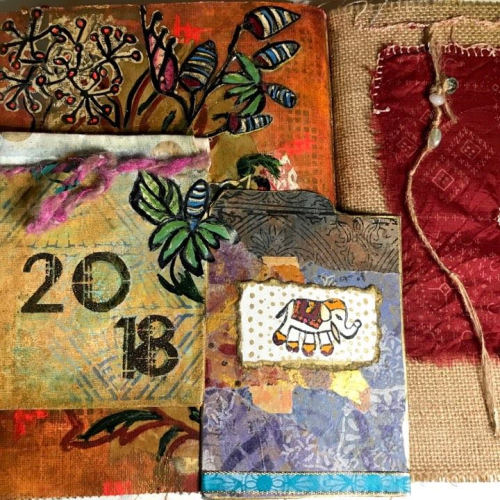 Stenciled Art Journal Pocket Spread - Jill McDowell