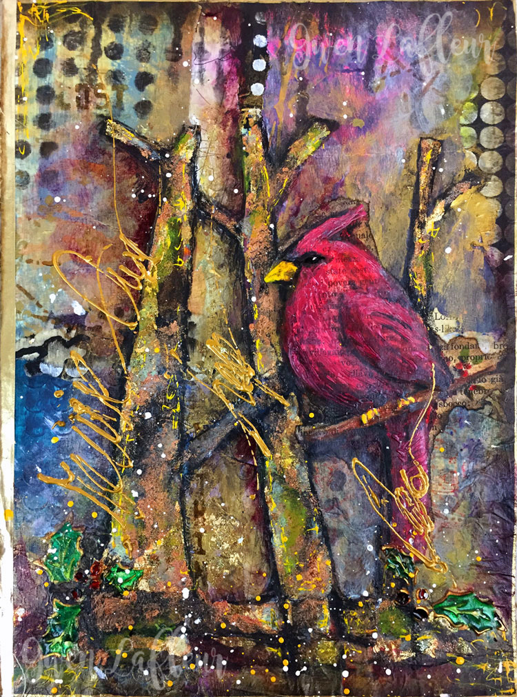 Winter-Cardinal-Art-Journal-Page--Gwen-Lafleur