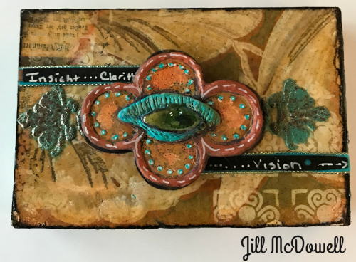 Mini Mixed Media Panel with Dimensional Stenciling - Jill McDowell