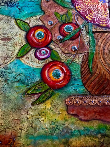 Boho Collaged Floral Canvas by Jill McDowell