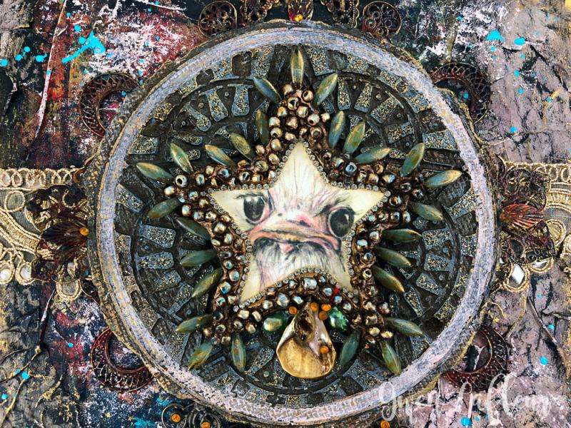 Ornery-Ostrich---Mixed-Media-Artwork-Closeup-2---Gwen-Lafleur