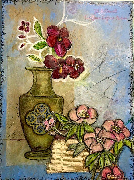 Art Journaling with a Tea Bag and Stencils - Jill McDowell
