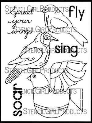 Boho Birds Stencil - Gwen Lafleur