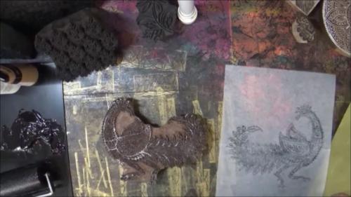 Blockprinting for Mixed Media - Test Prints - Gwen Lafleur