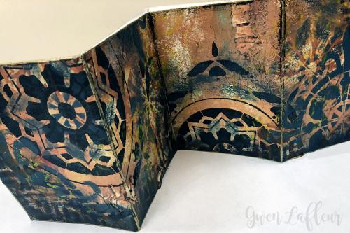 July 2018 StencilClub - Mini Art Journal Closeup - Gwen Lafleur
