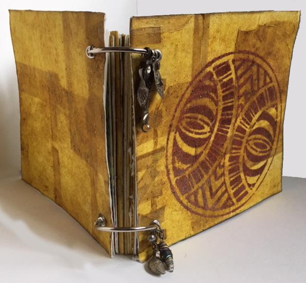 Stenciled Turmeric Flip Journal - Linda Edkins Wyatt